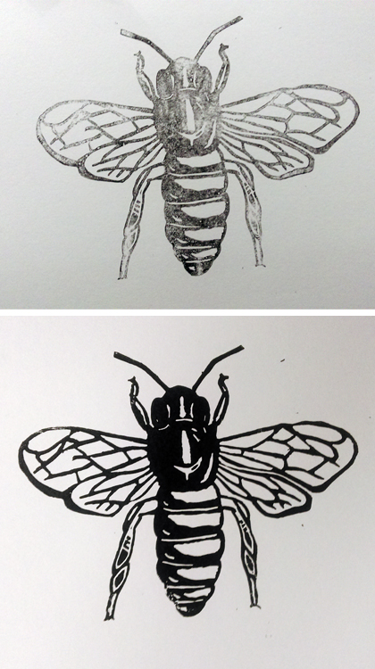 Bee-lino-cut-print